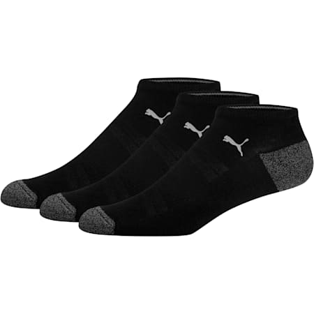 1/2 Terry Men's No Show Socks [3 Pack], BLACK / GREY, small
